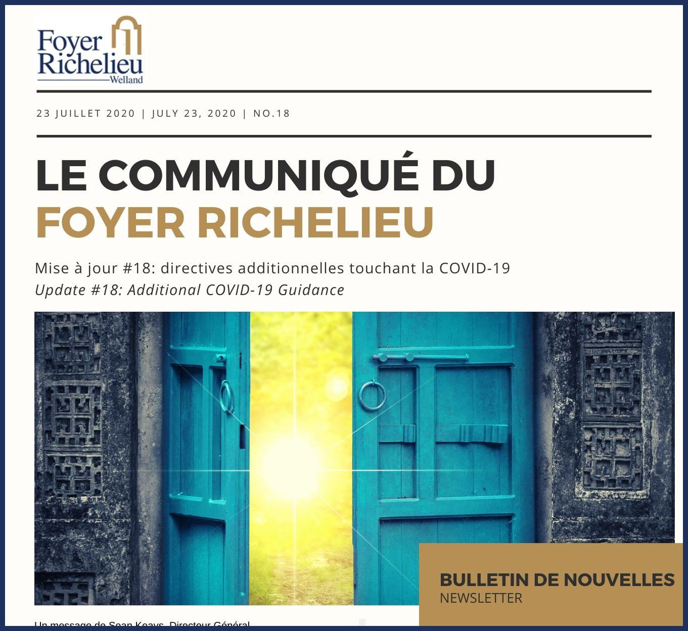 2020/07/23 – Le Communiqué du Foyer Richelieu