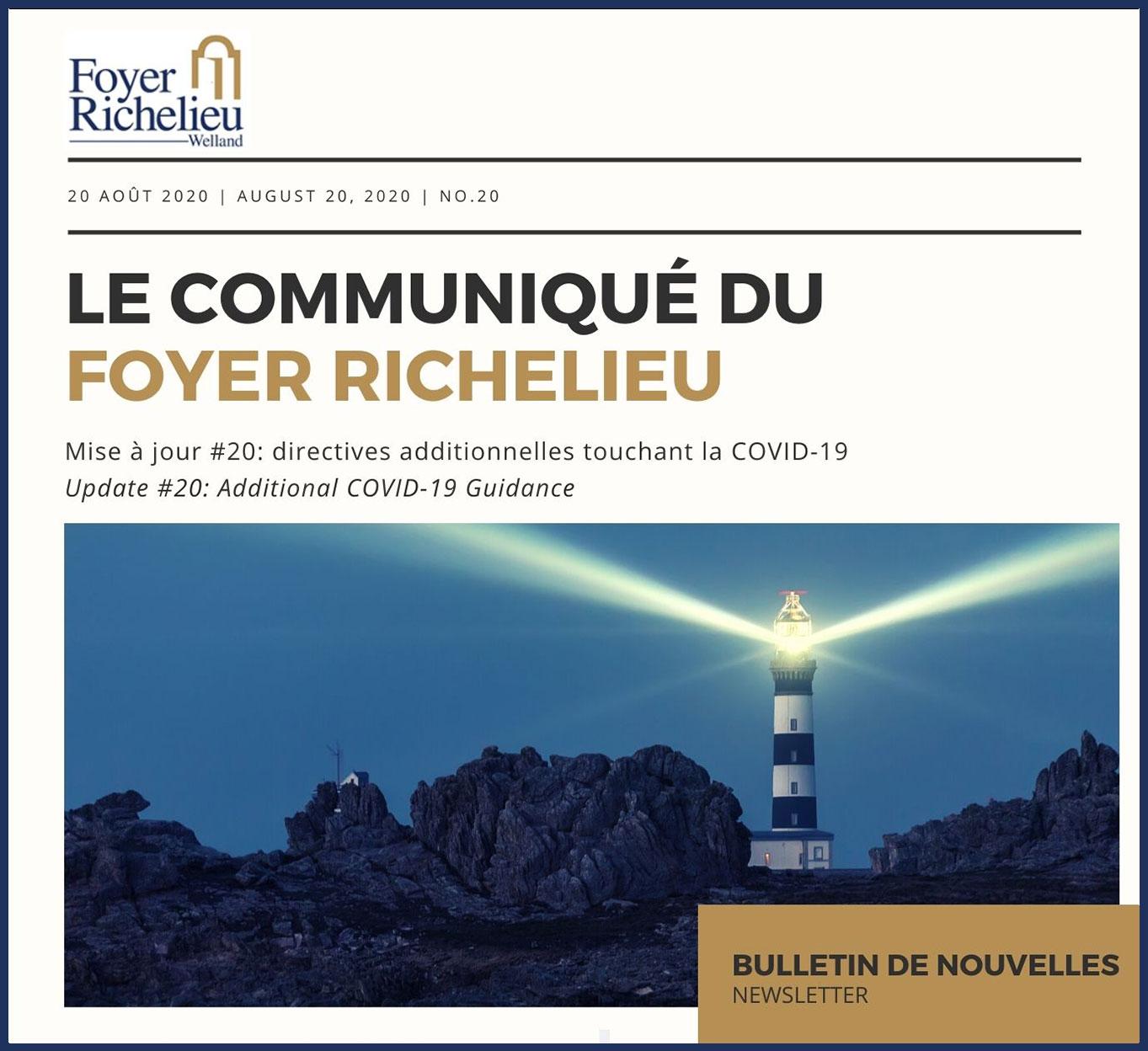 2020/08/20 – Le Communiqué du Foyer Richelieu