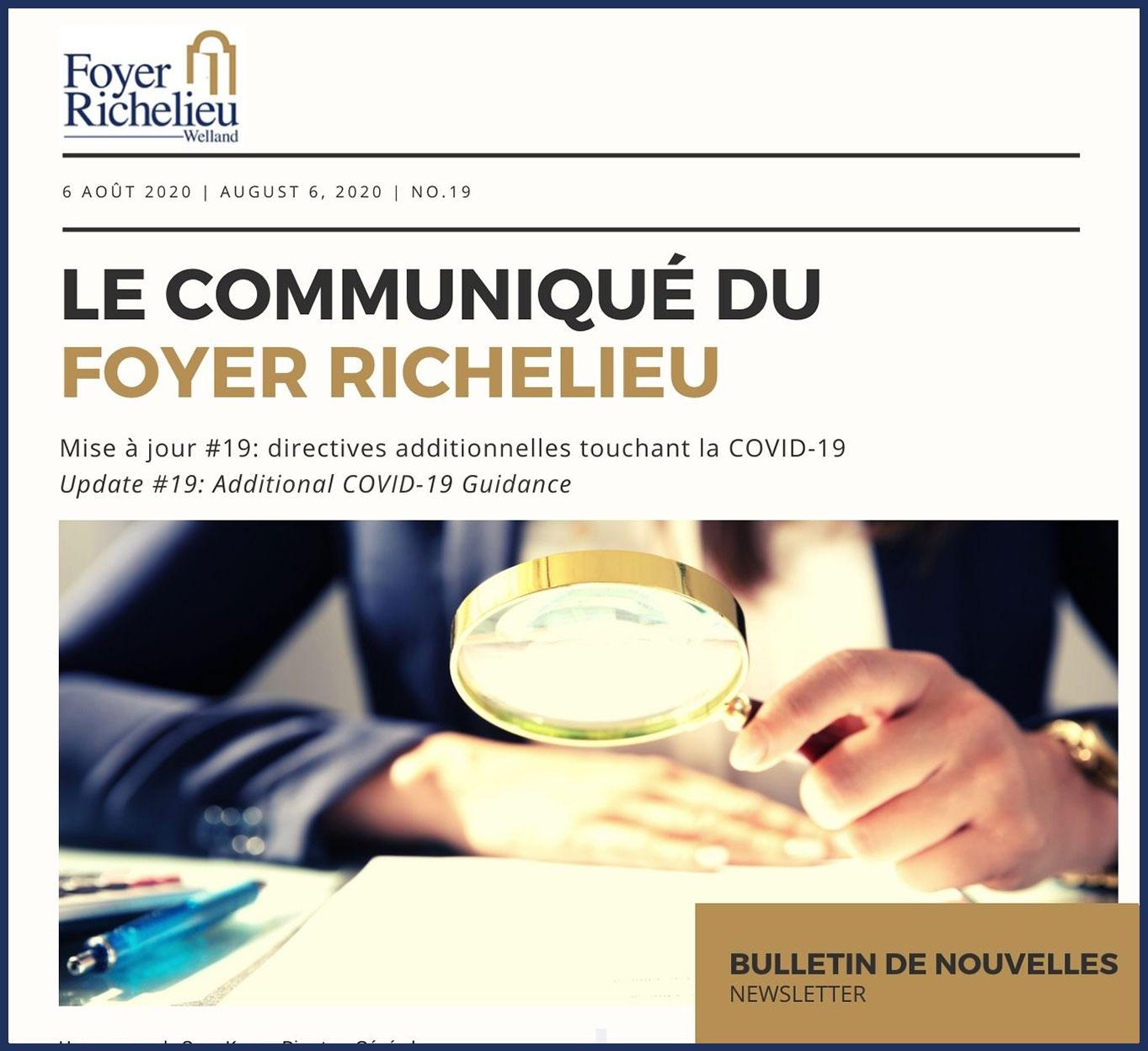 2020/08/06 – Le Communiqué du Foyer Richelieu