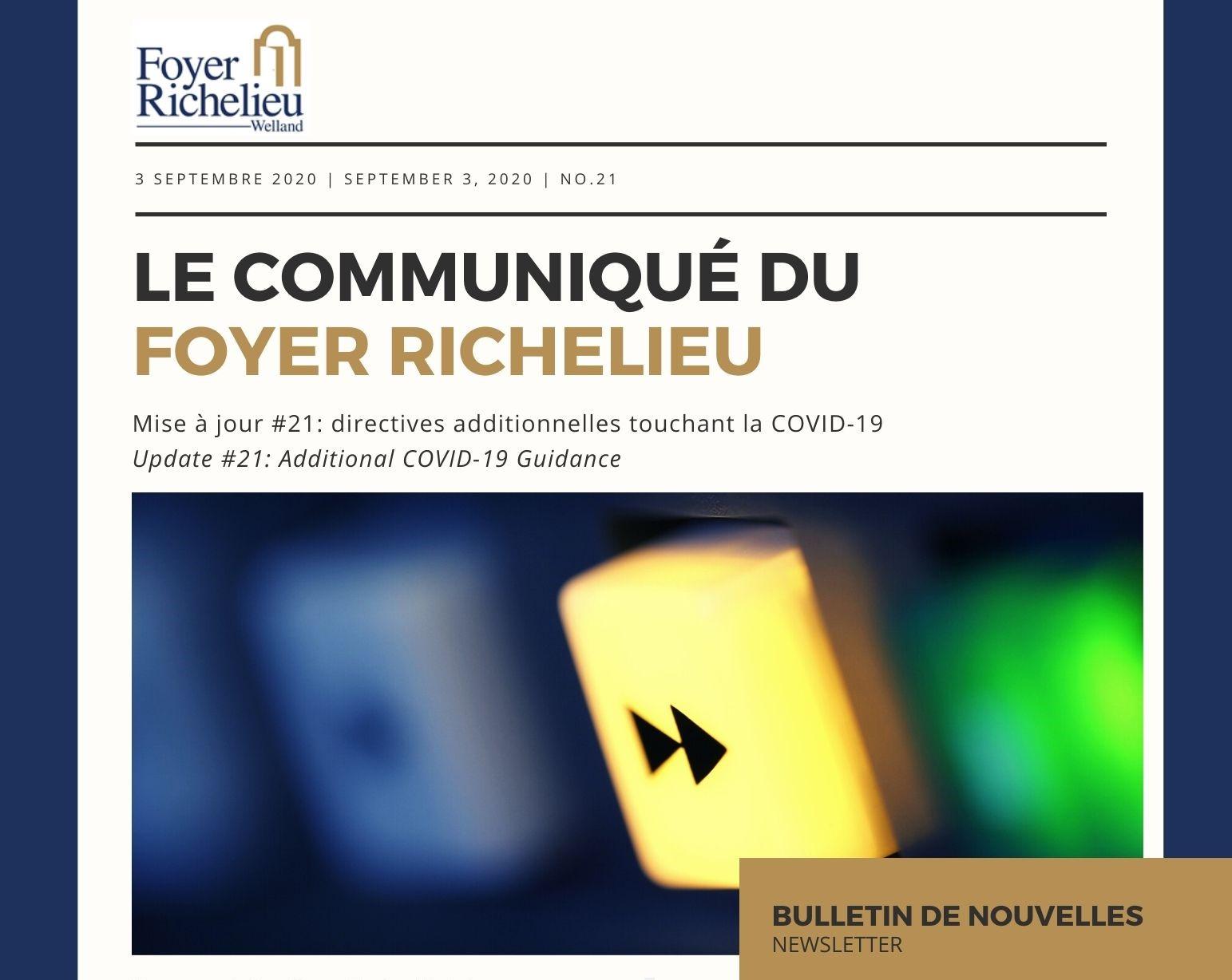 2020/09/03 – Le Communiqué du Foyer Richelieu