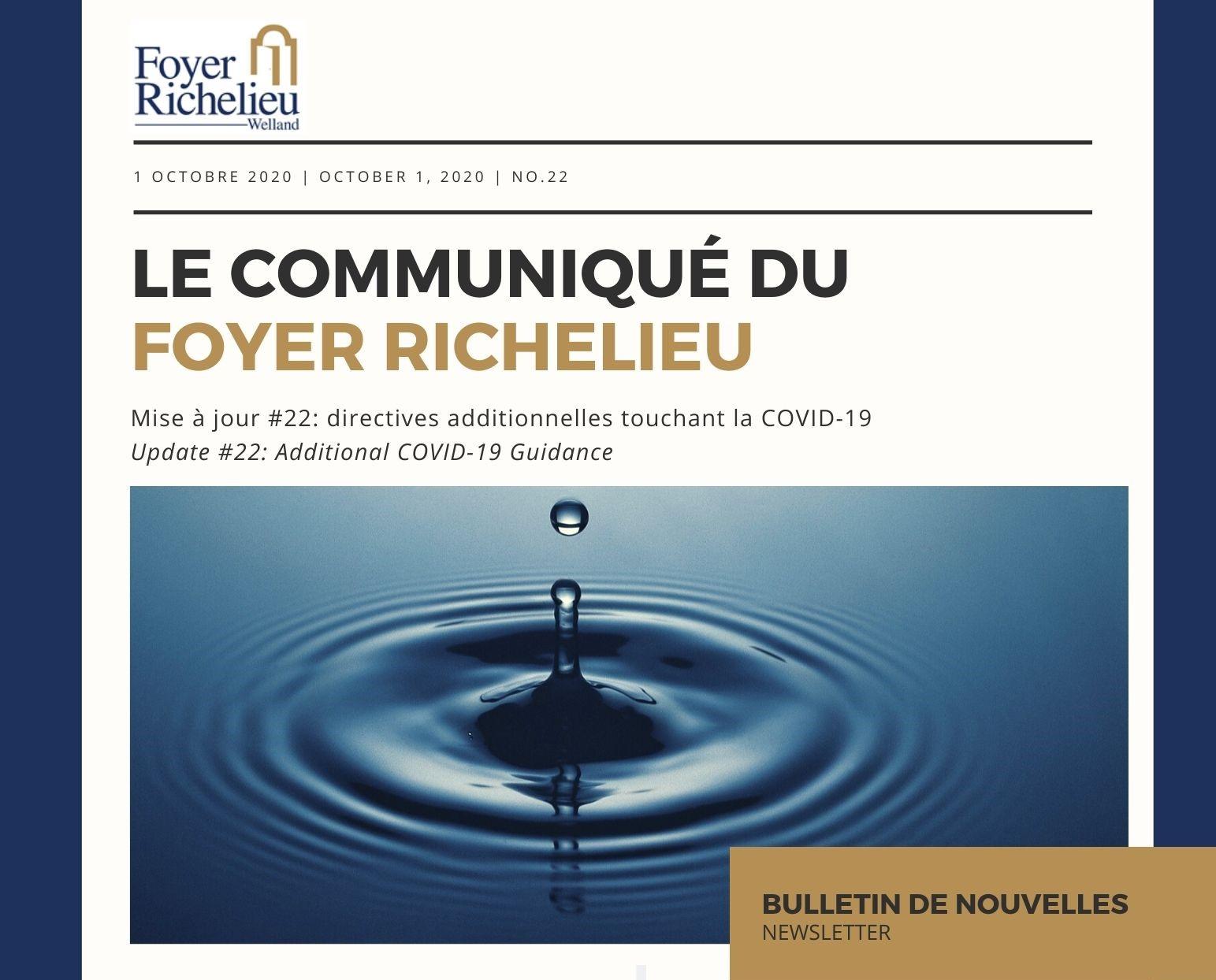 2020/10/01 – Le Communiqué du Foyer Richelieu