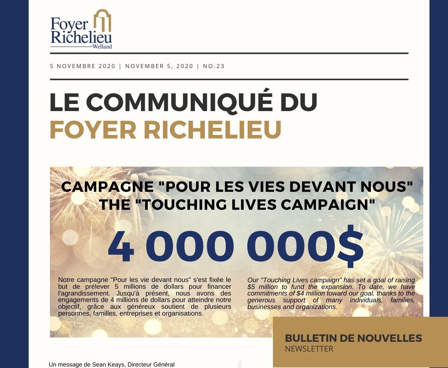 2020/11/05 – Le Communiqué du Foyer Richelieu