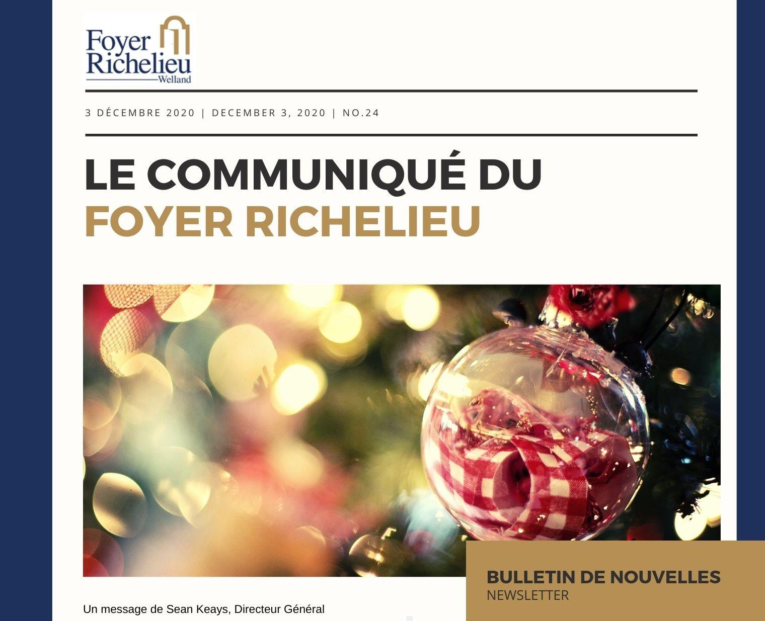 2020/12/03 – Le Communiqué du Foyer Richelieu