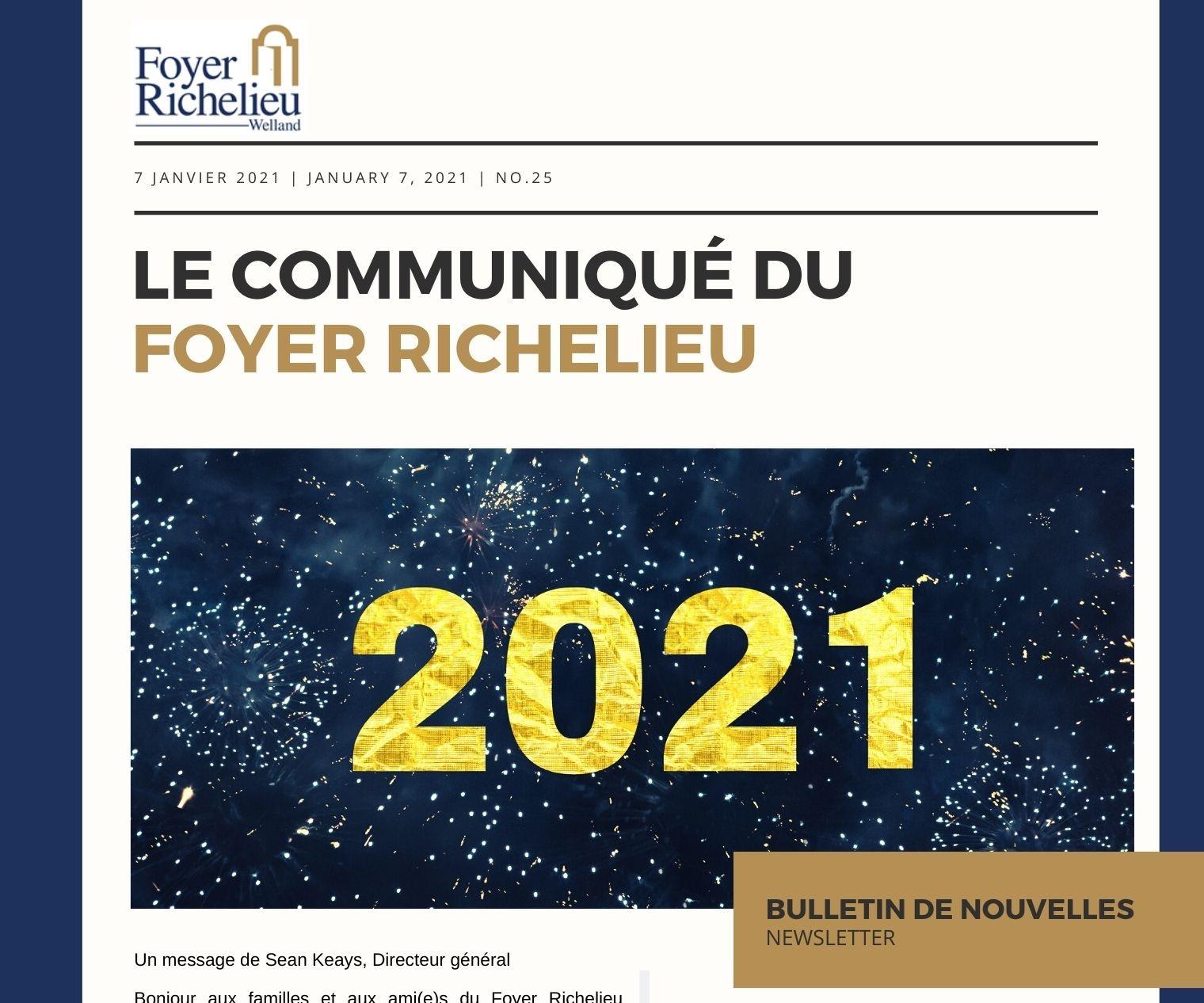2021/01/07 – Le Communiqué du Foyer Richelieu