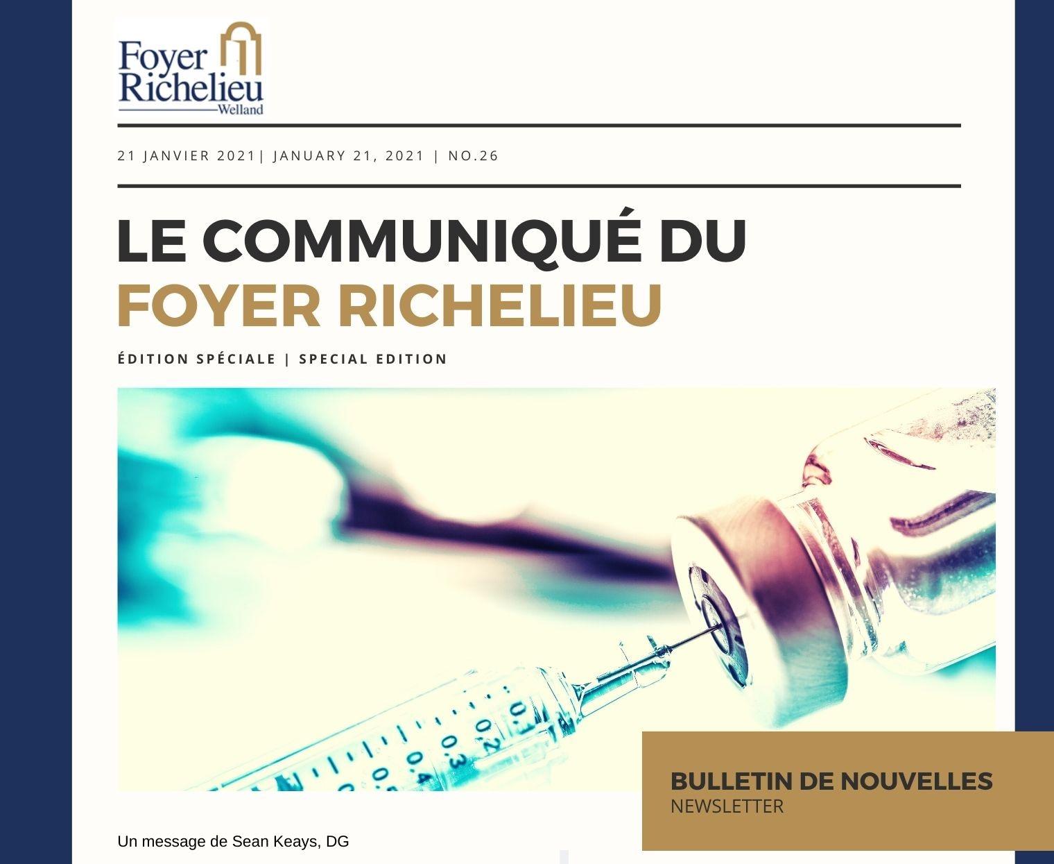 2021/01/21 – Le Communiqué du Foyer Richelieu