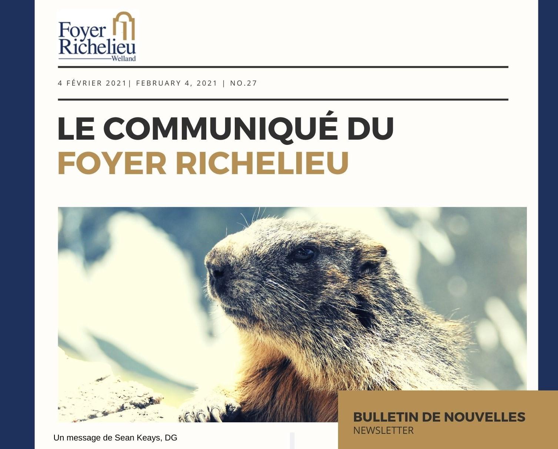 2021/02/04 – Le Communiqué du Foyer Richelieu