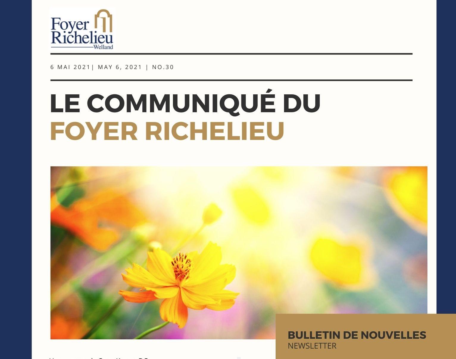 2021/05/06 – Le communiqué du Foyer Richelieu