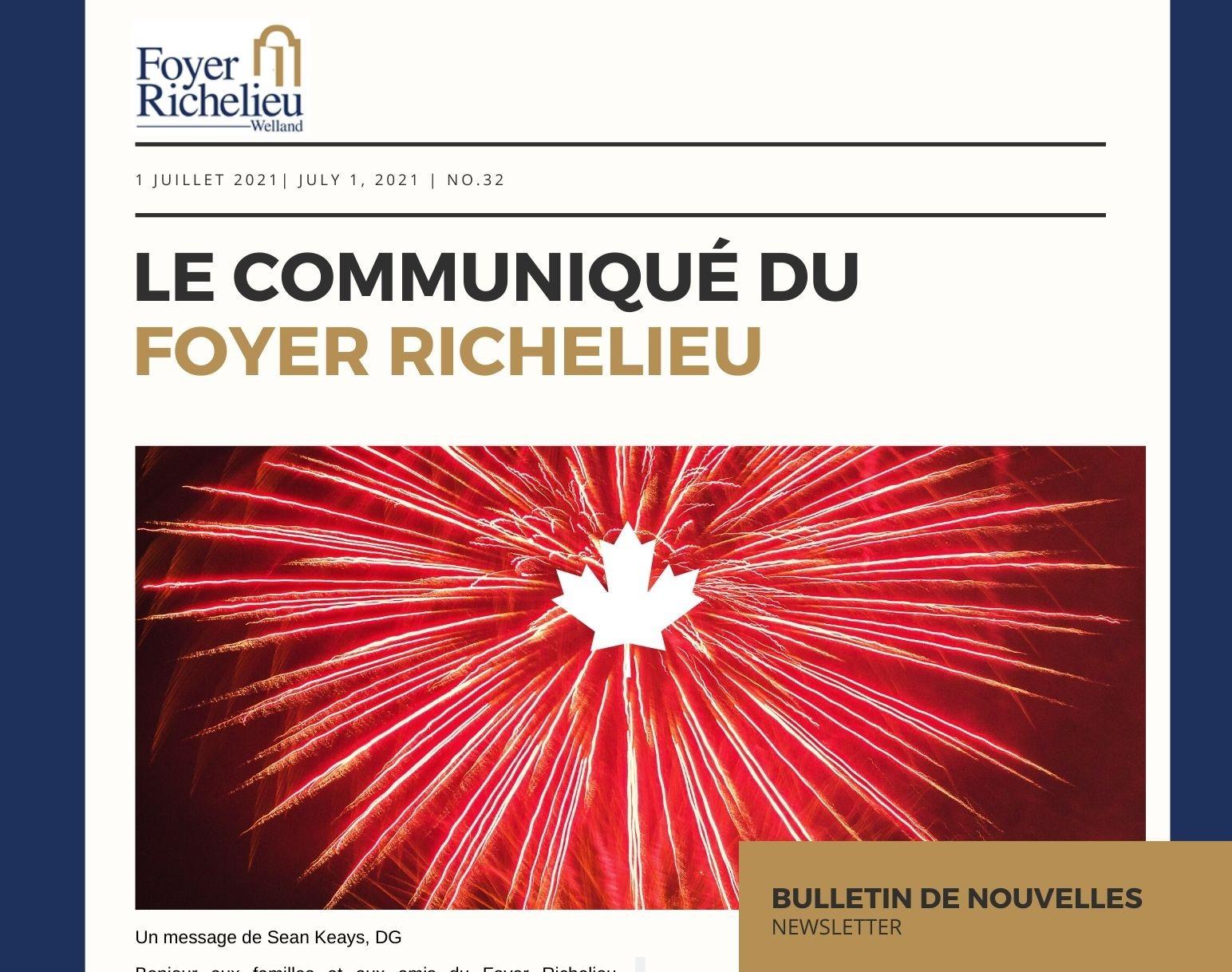 2021/07/01 – Le communiqué du Foyer Richelieu